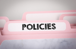 A pink file saying 'Policies'
