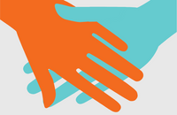 Orange hand holding a turquoise hand on a grey background