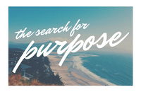 Image of a beach with the words 'The search for purpose' across it